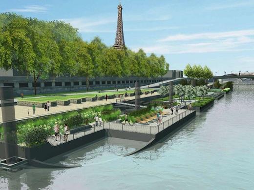 The floating gardens of the seine start taking shape for Le jardin hivernal du off paris seine