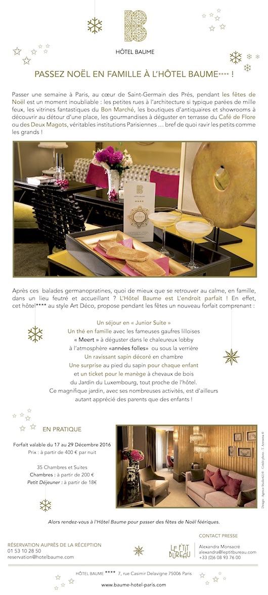 Passez Noël en famille à l'Hôtel Baume !