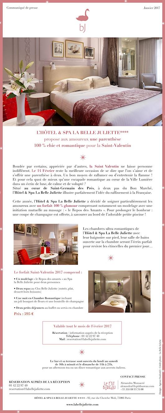 La Saint-Valentin 2017 à l'Hôtel & Spa la Belle Juliette !