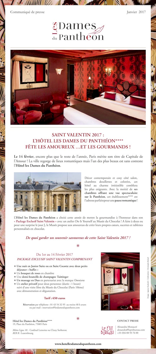 La Saint-Valentin 2017 à l'Hôtel les Dames du Panthéon !