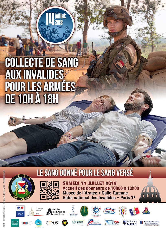 Callecte de sang aux Invalides pour les armée