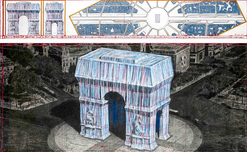 Christo, en étroite collaboration avec le Centre Pompidou et le Centre des monuments nationaux (CMN), créera une œuvre temporaire à Paris intitulée L'Arc de Triomphe empaqueté