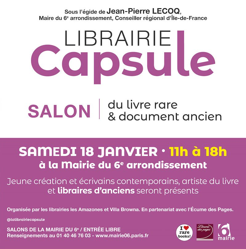 Librairie-Capsule à la Mairie du 6ème le 18 janvier 2020