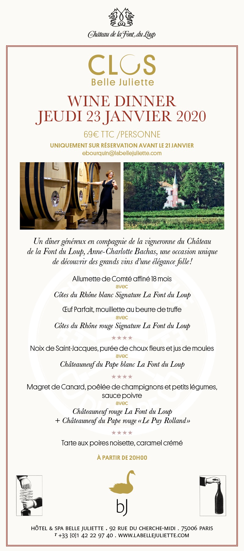 Wine Dinner à l'Hôtel & Spa Le Belle Juliette le 23 janvier 2020