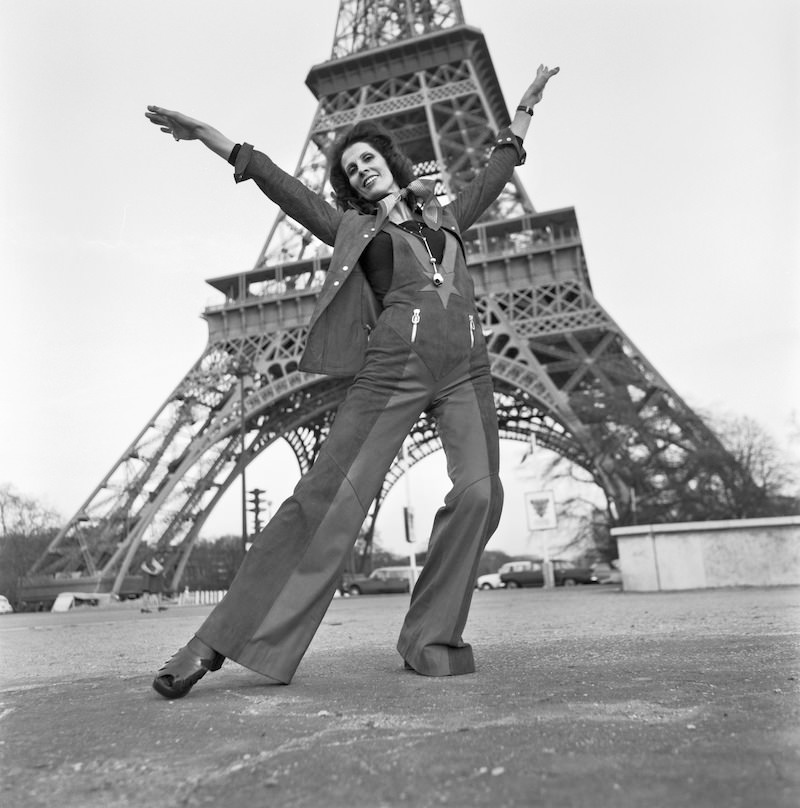 Dance teacher and mannequin Aira Samulin in Paris in 1973. Eiffel Tower in the background.