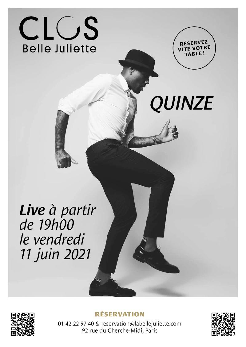 Free concert by Quinze at the Clos Belle Juliette, 11th June 2021