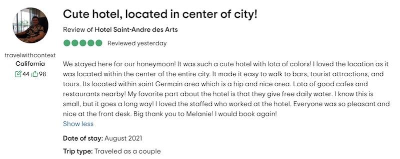TripAdvisor Review - Hotel Saint-André des Arts, Paris
